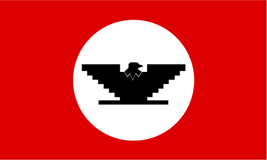 The flag is made of a red background with a white circle in the middle. A black Huelga bird is in the white circle.