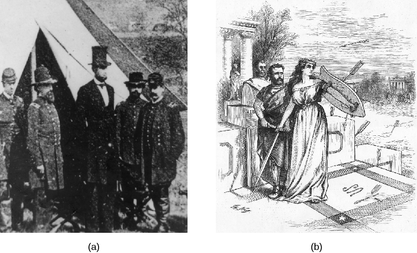 "Image A is a photo of Abraham Lincoln meeting with Union Soldiers. Image B is a cartoon of Ulysses S. Grant being shielded from arrows by ""Lady Liberty."""
