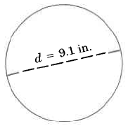 A circle with a line through the middle, ending at the edges of the circle. The line is labeled, d = 9.1in.