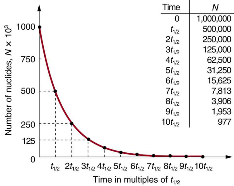 The figure shows a radioactive decay graph of number of nuclides in thousands versus time in multiples of half-life. The number of radioactive nuclei decreases exponentially and finally approaches zero after about ten half-lives.