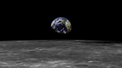 A view of Earth from the Moon.