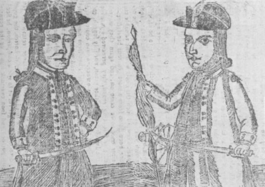 This 1787 almanac cover shows a drawing of Daniel Shays and Job Shattuck.