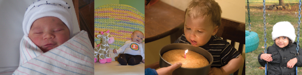 A collage of four photographs depicting babies is shown. From left to right they get progressively older. The far left photograph is a bundled up sleeping newborn. To the right is a picture of a toddler next to a toy giraffe. To the right is a baby blowing out a single candle. To the far right is a child on a swing set.