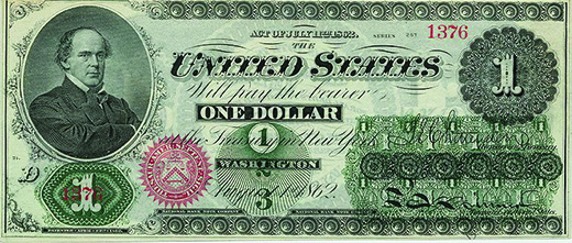 """A Union one dollar """"greenback"""" is shown. In the upper left-hand corner is a portrait of Salmon P. Chase, the U.S. Treasury secretary under Abraham Lincoln."""