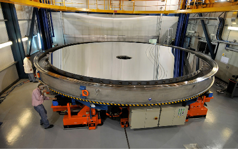 Photograph of one of the 8-meter concave primary mirrors of the European Space Agency's Very Large Telescope array in Chile.