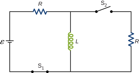 Figure shows a circuit with R and L connected in series with battery epsilon through closed switch S. L is connected in parallel with another resistor R through open switch S2.