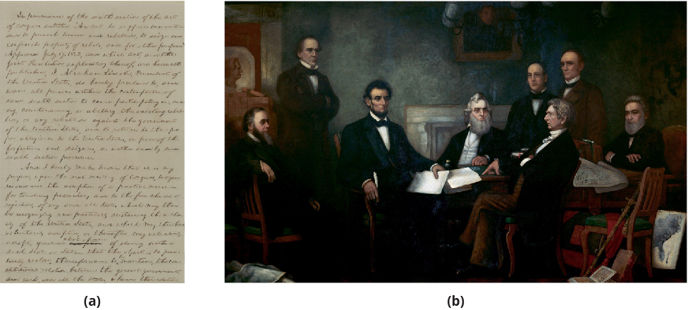 Figure (a) shows part of the handwritten first draft of the Emancipation Proclamation. Figure (b) is a painting depicting the reading of the Emancipation Proclamation. In the center surrounding a table are Abraham Lincoln, Gideon Welles, and William Seward, who sits with his legs crossed. Abraham Lincoln holds the document and a pen. Other leaders fill the room.