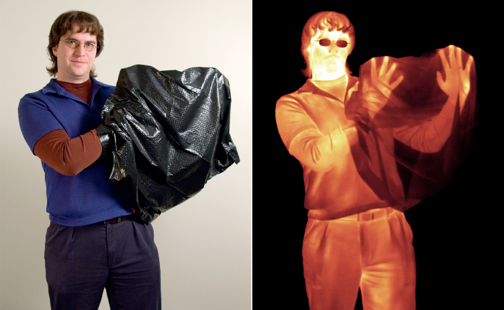 Two side-by-side photographs show a person with a black plastic bag covering his hands. The left-image is visible light and only the plastic bag can be seen over the hands; the right image is infrared and the hand and fingers are easily visible although covered by visible-light-blocking plastic.