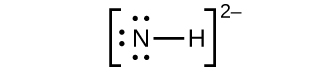 This Lewis structure shows a nitrogen atom with three lone pairs of electrons single bonded to a hydrogen atom. The structure is surrounded by brackets. Outside and superscript to the brackets is a two negative sign.