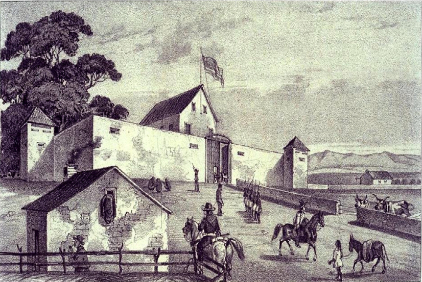 Illustration of a fortress-looking building flying an American flag, with soldiers and men on horseback around.