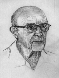 A drawing depicts Carl Rogers.