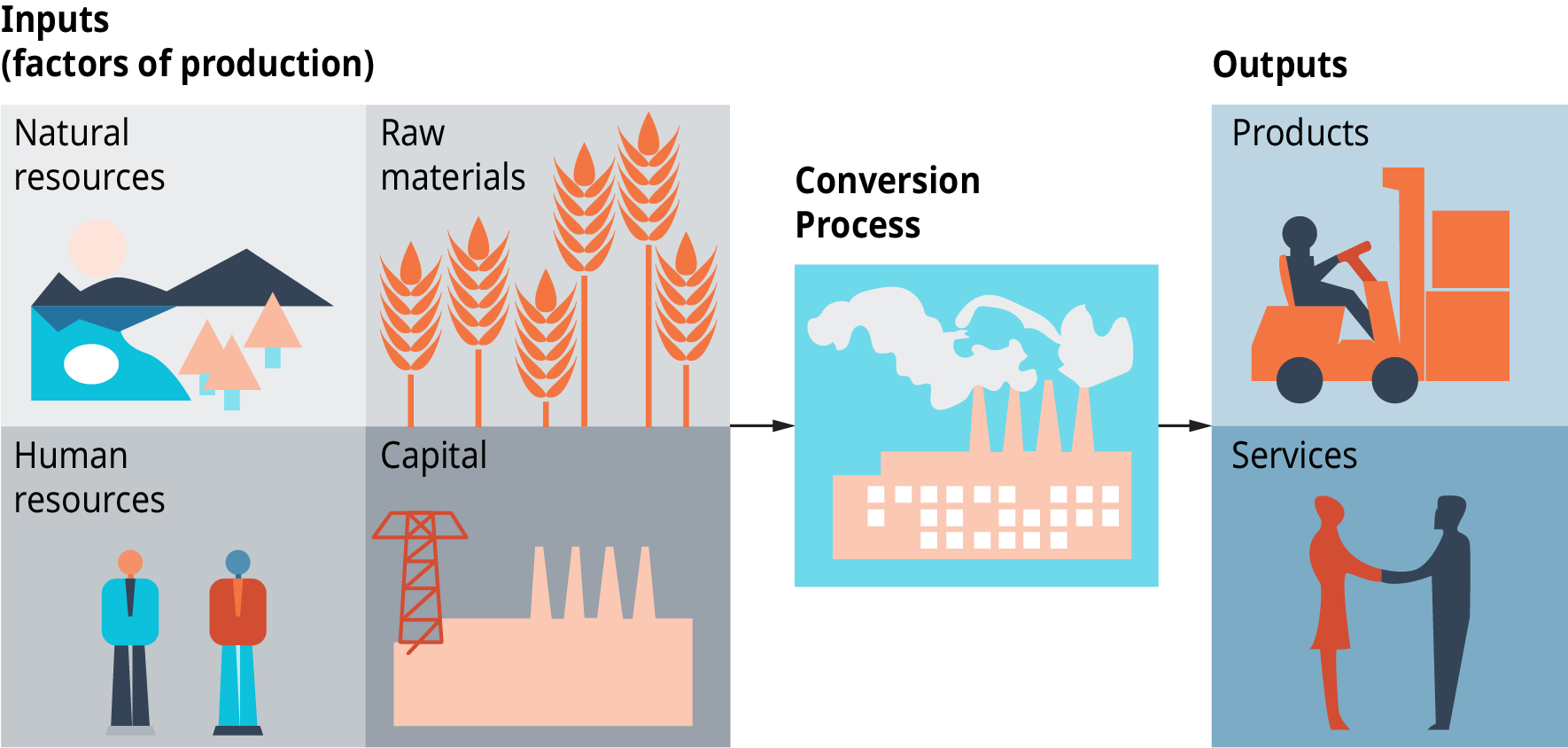 Production Process for Products and Services. The diagram shows that inputs, which are factors of production, include the following: natural resources, human resources, raw materials, and capital. A conversion process takes place, which produces outputs which are products and services. Another way of saying this is that the Production Process for Products and Services converts inputs of natural resources, raw materials, human resources, and capital, into products and services.