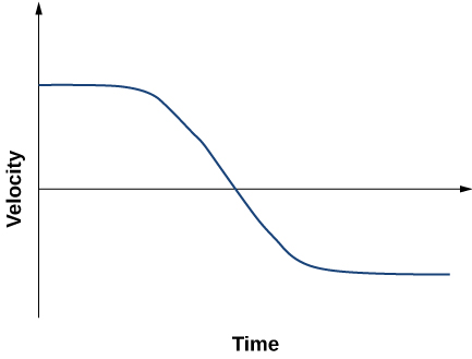 Graph shows velocity plotted versus time. It starts with the positive value at zero time, decreases to the negative value and remains constant.