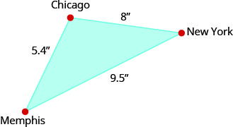 """The above image shows a triangle. Each angle is labeled, clockwise, """"Chicago"""", """"New York"""", and """"Memphis"""". The side that extends from Chicago to New York is labeled 8 inches. The side that extends from New York to Memphis is labeled 9.5 inches and the side extending from Memphis to Chicago is labeled 5.4 inches."""