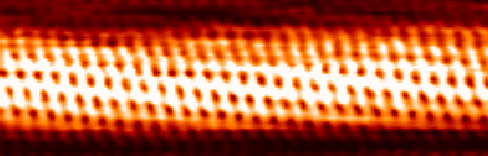 An STM image of a carbon nanotube showing the atoms as red points in a grid like pattern.