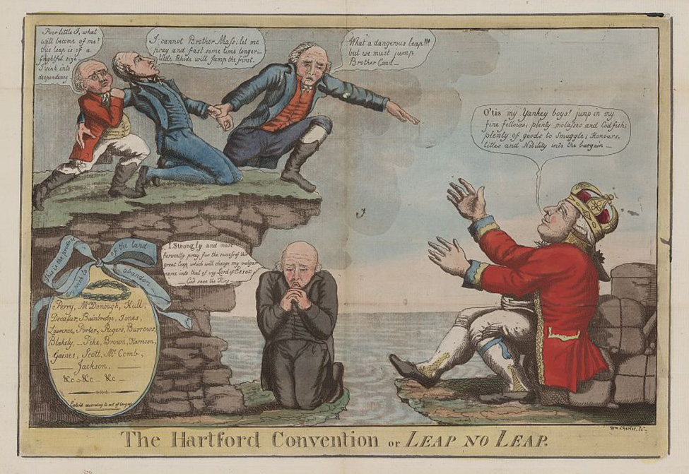 A political cartoon of three men on a cliff and a man under the cliff, representing New England states, wondering whether to jump (commit treason), while the British monarch, shown separated from the men by water, encourages them to jump off the cliff.