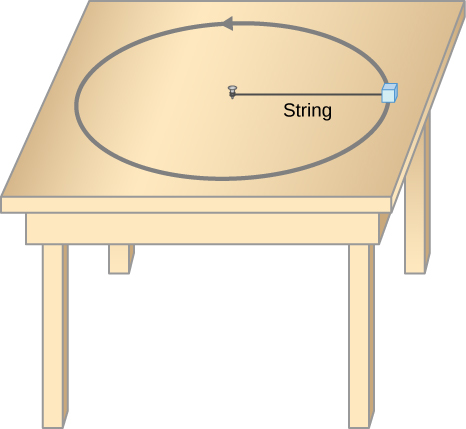 An illustration of a mass moving in a circular path on a table. The mass is attached to a string that is pinned at the center of the circle to the table at the other end.