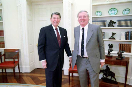Photograph of Ronald Regan and William Buckley in the Oval Office