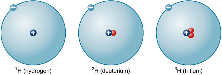 "Isotopes of Hydrogen. This figure depicts three isotopes of hydrogen. Each is a circle of the same size with one dot and a ""-"" sign on the perimeter representing the electron. From the left we see hydrogen with mass no. 1 with a single proton, ""+"", at the center of the circle. In the middle is hydrogen with mass no. 2 (deuterium), having one proton, ""+"", and one neutron in the center. On the right is hydrogen with mass no. 3 (tritium), having one proton, ""+"", and two neutrons in the center."