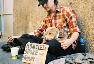 """A photograph shows a homeless person and a dog sitting on a sidewalk with a sign reading, """"homeless, broke, and hungry."""""""