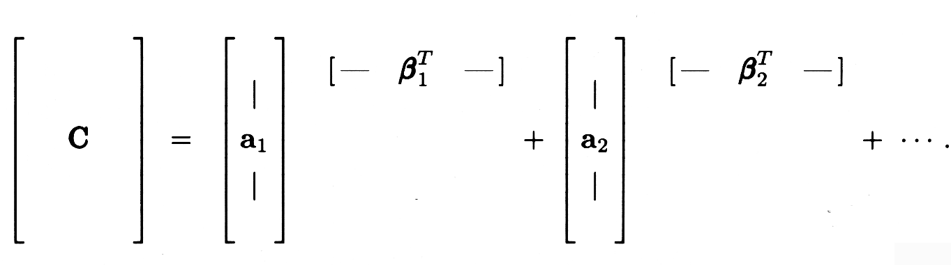 Figure seven shows how matrix C is composed of the addition of each a-column with a respective transposed b-column.