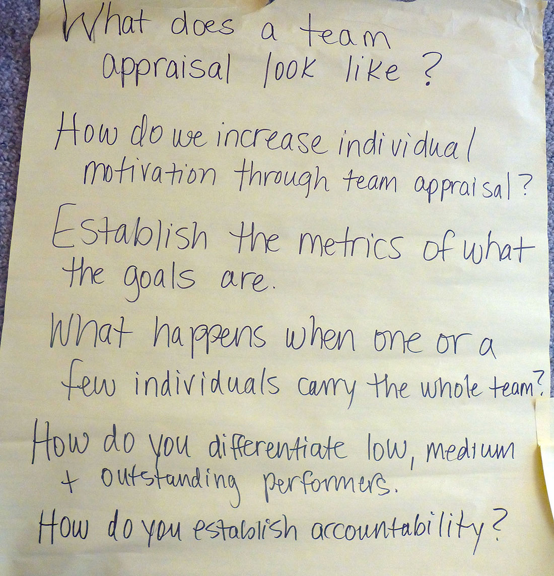 A screenshot shows a handwritten text reading the important points for a team-based review.