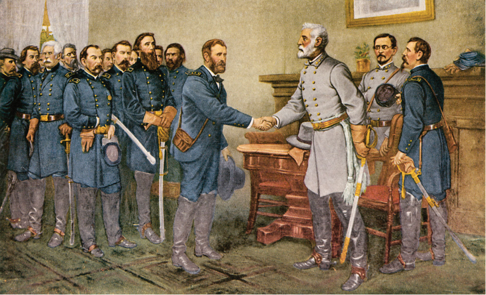 The painting shows General Lee on the left with a group of Confederate soldiers behind him. Lee shakes Grant's hand. With his other hand, Grant grips his sword.
