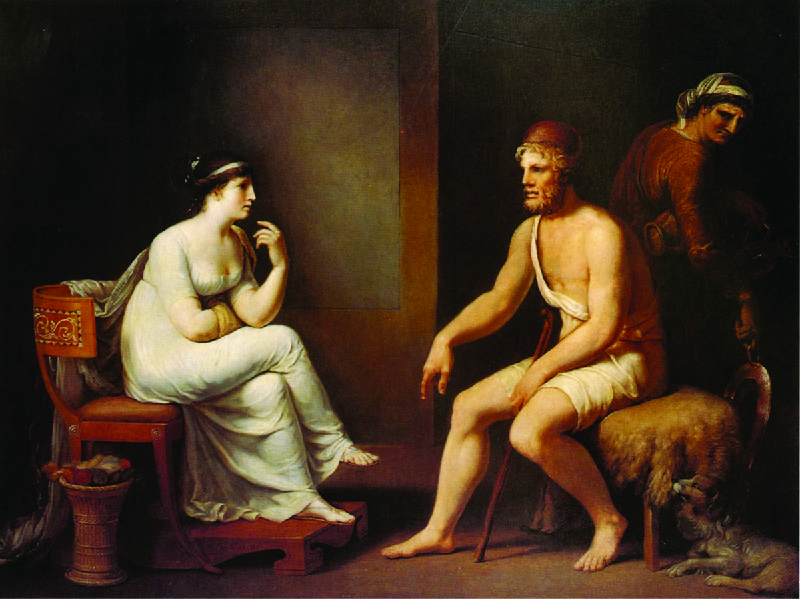 A painting depicting a woman on the left, Penelope, and a man on the right, Odysseus. Another person is behind Odysseus looking back at them.