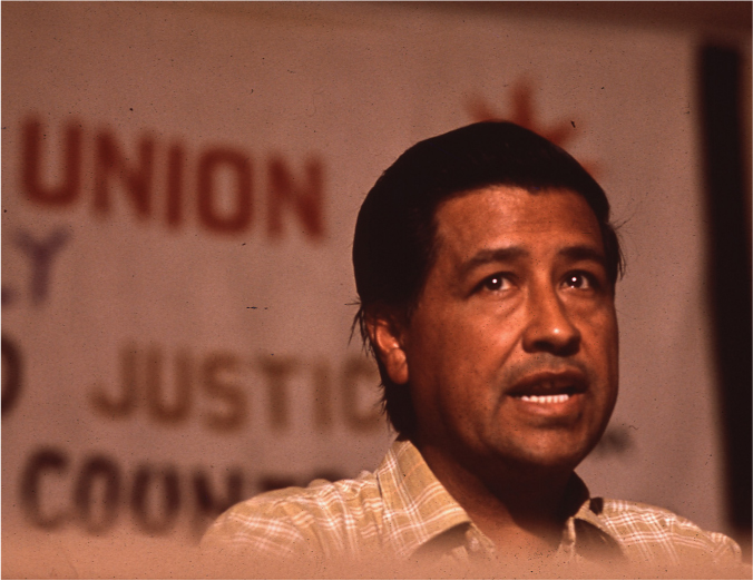 César Chávez delivers a speech