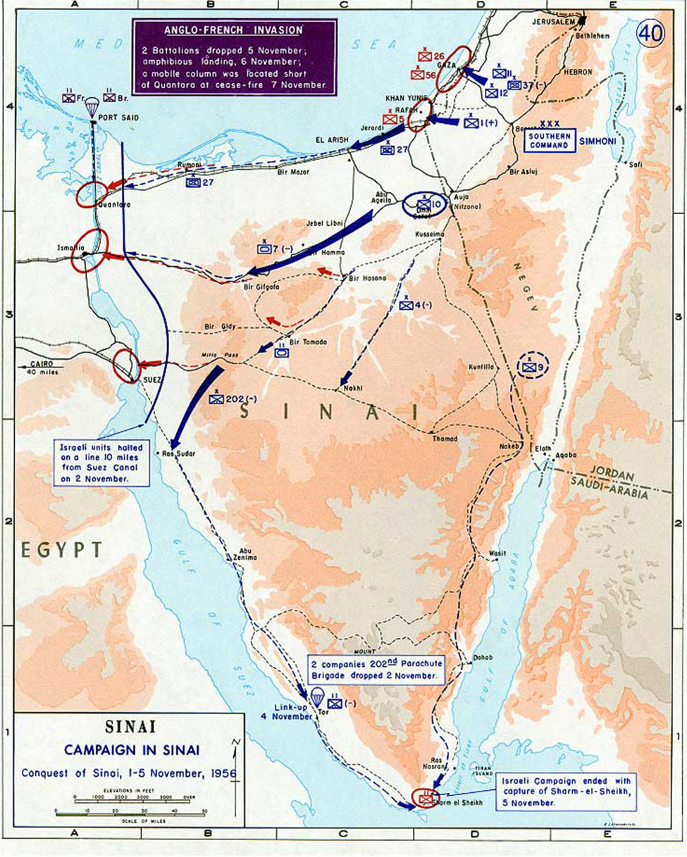 """The map, """"Campaign in Sinai: Conquest of Sinai, 1–5 November, 1956,"""" shows the Anglo-French Invasion that included 2 Battalions dropped November fifth, amphibious landing, November sixth, and a mobile column which was located short of Quantara at cease-fire November seventh. The map shows different landing points across Sinai. Arrows across the map show the targets of the invasion, including Gaza, Rafah, Quantara, Ismalia, Suez, and Sharm el Sheikh. A caption south of the Suez Canal, in the Gulf of Suez states """"Israeli units halted on a line ten miles from Suez Canal on November second. """"A caption on the southwestern coast of Sinai, near Tor states """"2 companies 202nd Parachute Brigade dropped November second."""" A caption at the southern tip of Sinai, at Sharm el Sheikh reads """"Israeli Campaign ended with capture of Sharm-el-Sheikh, November fifth."""""""