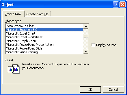 Insert an equation 3.0 object into your Word document.