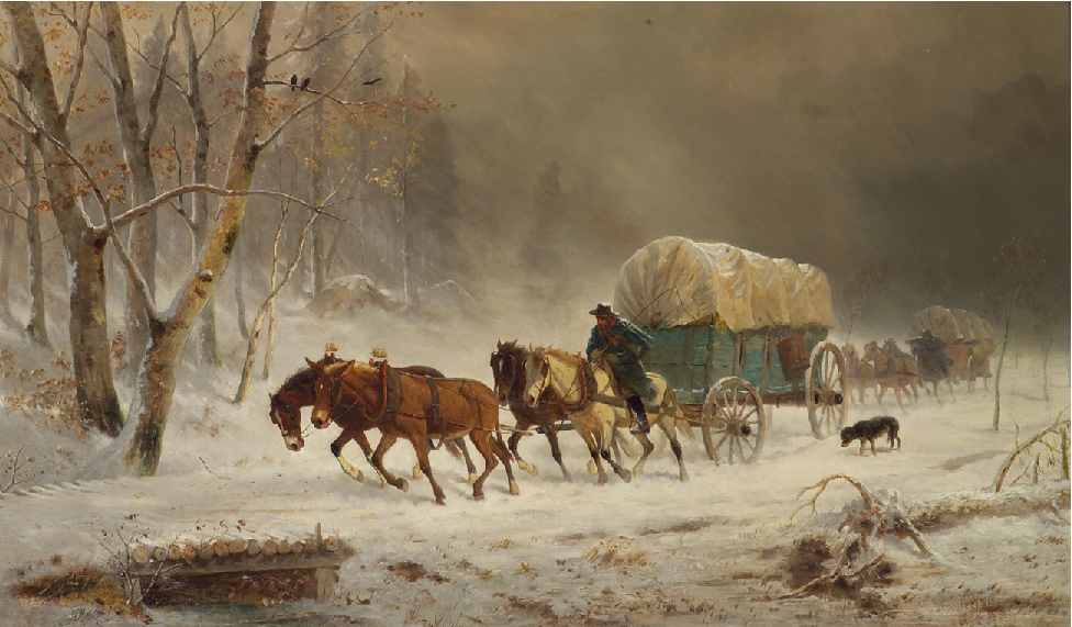 Painting of two covered wagons being pulled by horses in a snowstorm.