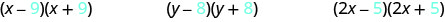 This figure has three products. The first is x minus 9, in parentheses, times x plus 9, in parentheses. The second is y minus 8, in parentheses, times y plus 8, in parentheses. The last is 2x minus 5, in parentheses, times 2x plus 5, in parentheses.