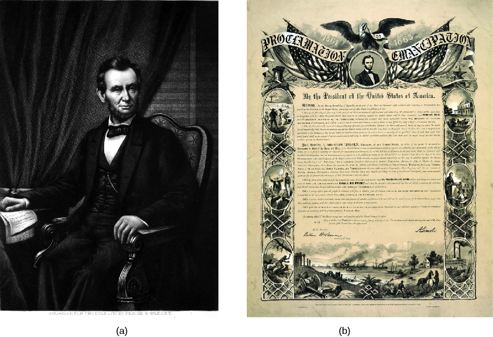 "Image A is of Abraham Lincoln sitting in a chair. His right hand rests on a paper document. Image B is of a document. The document reads ""Proclamation of Emancipation"" at the top."