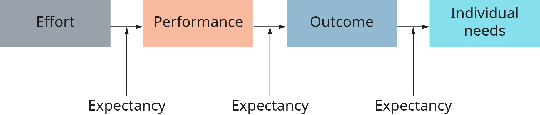 A process is shown as words connected by arrows. The diagram starts with the word effort, and an arrow points to performance. An arrow points from here to the word outcome. An arrow points from here to the words individual needs. Arrows labeled expectancy point to each of the arrows between words in the process.