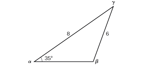 An oblique triangle with standard labels where side a is of length 6, side b is of length 8, and angle alpha is 35 degrees.