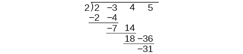 Synthetic division of the polynomial 2x^3-3x^2+4x+5 by x+2 in which it only contains the coefficients of each polynomial.