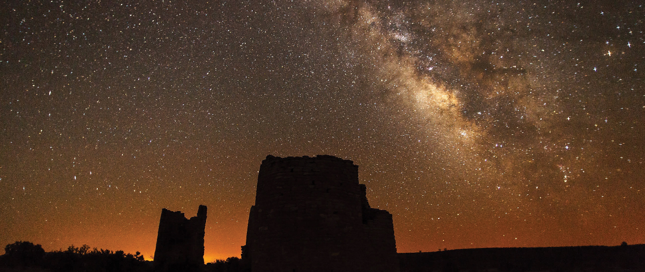 The Milky Way. The central bulge of the Milky Way (to the right of center) shines brightly in the dark Utah skies. Silhouetted in the foreground is Square Tower in Hovenweep National Monument.
