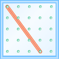 The figure shows a grid of evenly spaced pegs. There are 5 columns and 5 rows of pegs. A rubber band is stretched between the peg in column 1, row 1 and the peg in column 4, row 5, forming a line.