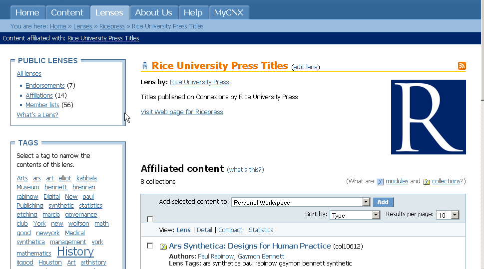 Rice Press lens home page.