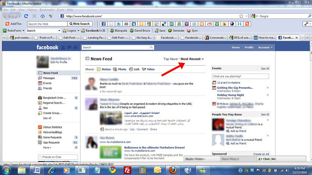 A Facebook page is shown.