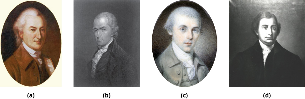 Portraits are shown from left to right of John Dickinson, Alexander Hamilton, James Madison, and Edmund Randolph.