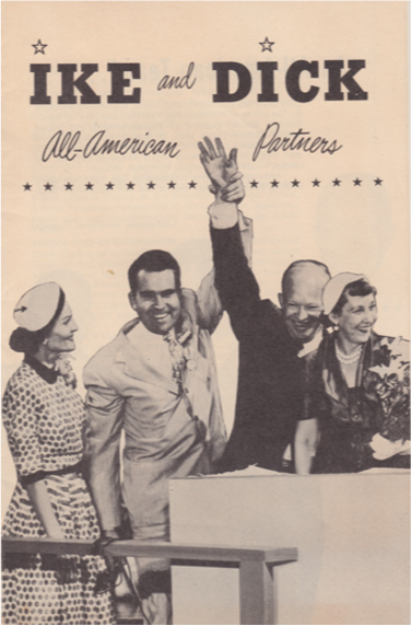 Nixon and Eisenhower stand together and join hands in the air while their wives stand beside them. The poster reads