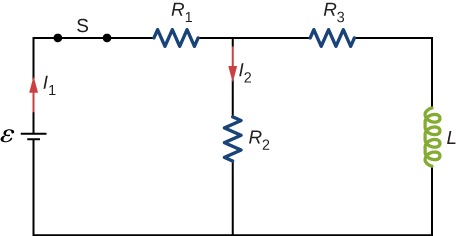 Figure shows a circuit with R1 and R2 connected in series with a battery, epsilon and a closed switch S. R2 is connected in parallel with L and R3. The currents through R1 and R2 are I1 and I2 respectively.