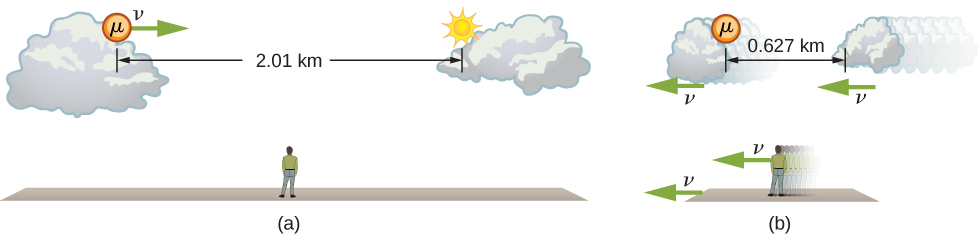 Figure a shows a stationary observer on the ground looking at a muon that is moving to the right with speed v between two clouds that are separated by 2.01 km. Figure b shows the observer, the ground, and the clouds all moving to the left with speed v. The muon is stationary. The clouds are contracted horizontally and the distance between the clouds is 0.627 km.