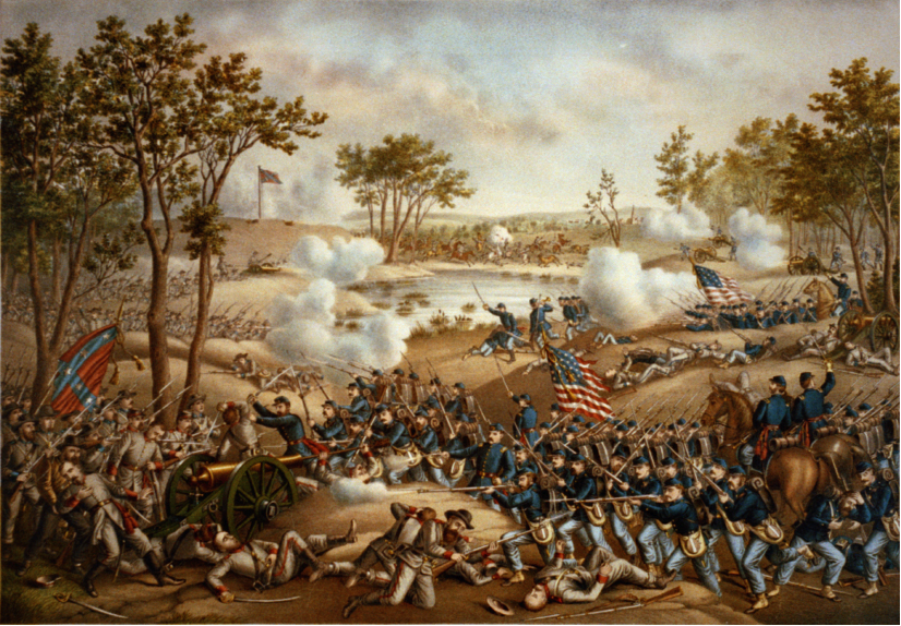 The painting shows Confederate soldiers along the left side of the painting, shooting cannons and bayonet rifles. Union soldiers come from the right side of the painting. In the foreground, Union soldiers advance on top of fallen Confederate soldiers.