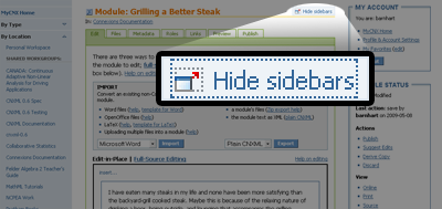 The module edit page with sidebars shown. The show/hide icon is highlighted and enlarged to emphasize its location in the top-right corner of the editing pane.