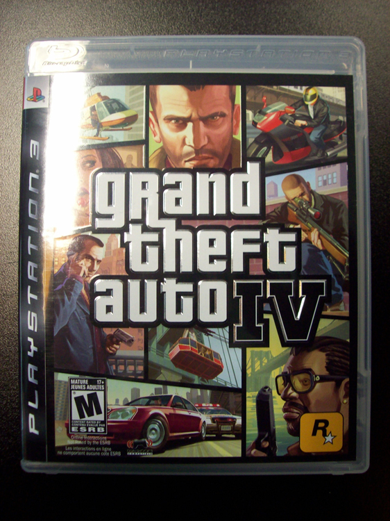 The cover of the Grand Theft Auto IV video game is shown.