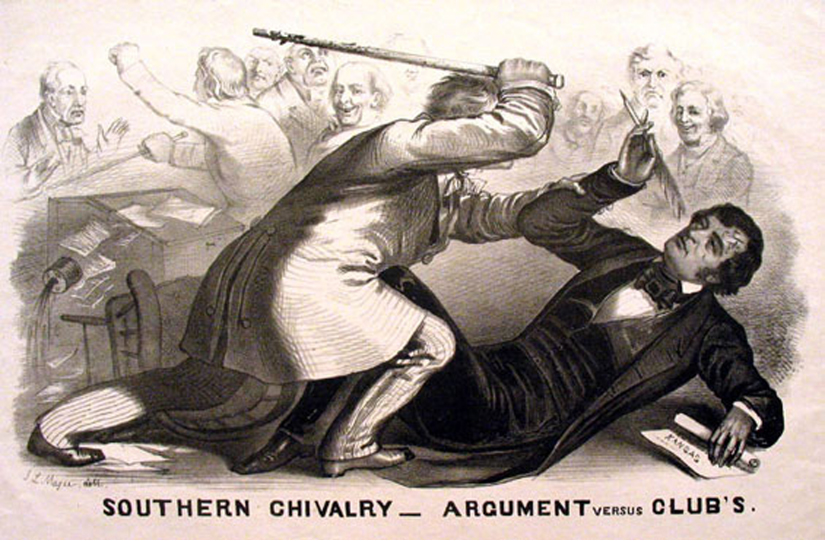 Cartoon of a man with a quill being beaten by a man with a rod while others look on. The bottom of the cartoon states: