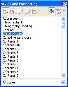 Styles and Formatting dialog box, paragraph styles showing.